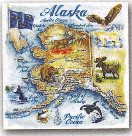 Alaska State Map Collage Trivet
